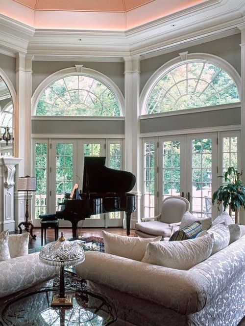 Beautiful French doors with sidelights and transoms