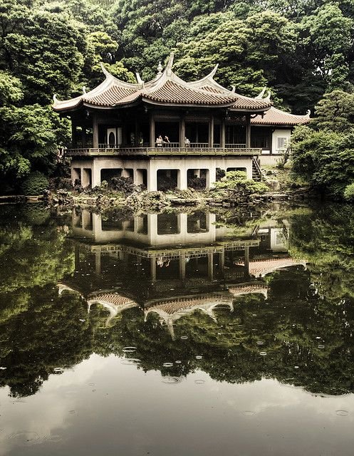 Shinjyuku Gyoen, Tokyo, Japan.  Love this type of architecture!  Also, I would be a giant there.