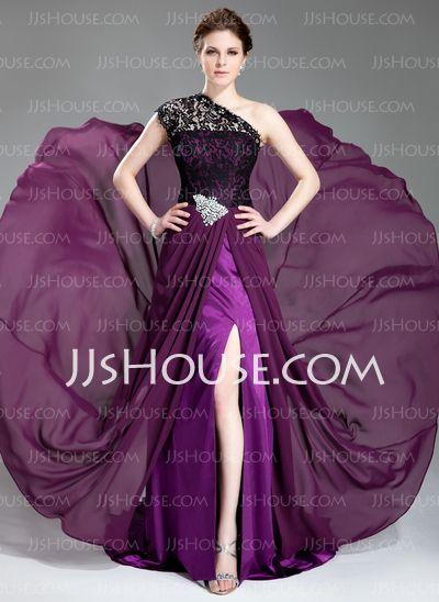 Evening Dresses - $149.79 - A-Line/Princess One-Shoulder Court Train Chiffon Lace Evening Dress With Beading (017019739) http://jjshouse.com/A-Line-Princess-One-Shoulder-Court-Train-Chiffon-Lace-Evening-Dress-With-Beading-017019739-g19739