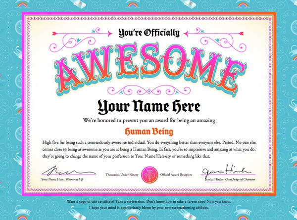 You're Officially Awesome certificate. | Free Printables ...