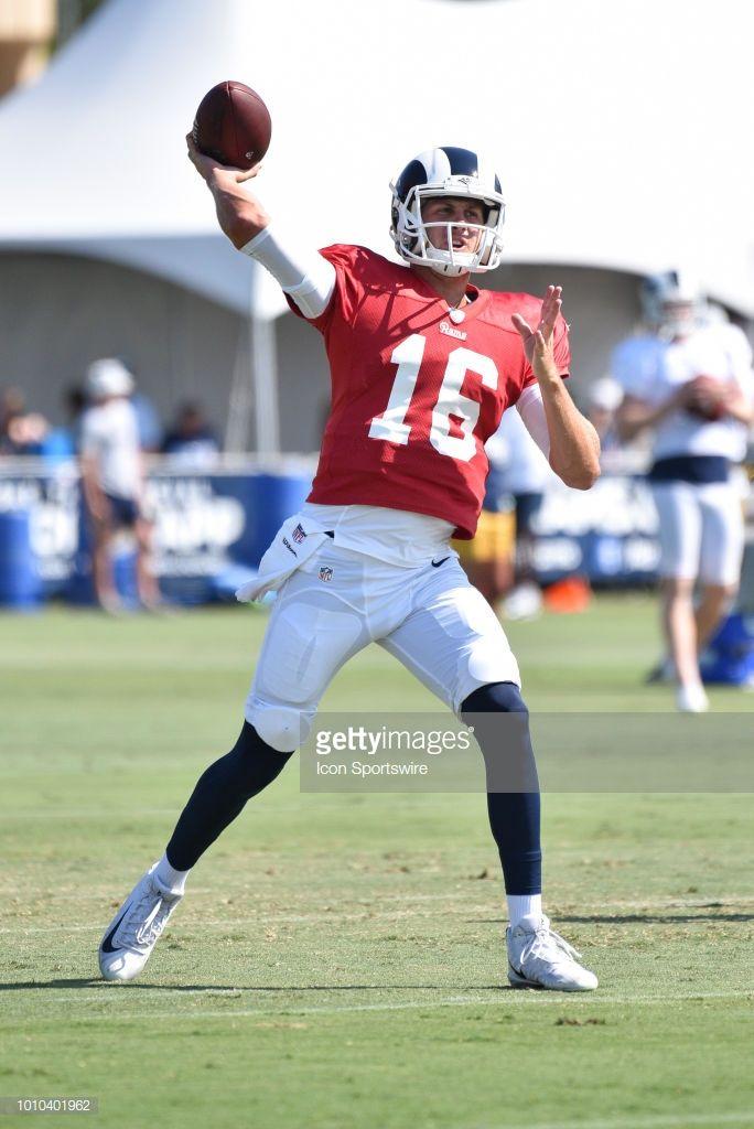Los Angeles Rams Qb Jared Goff Throws A Pass During Los Angeles Rams Los Angeles Rams Jared Goff Football Helmets