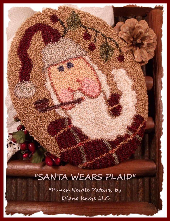 Santa Wears Plaid Punch Needle Pattern Download by Diane Knott LLC by DianeKnottLLC on Etsy
