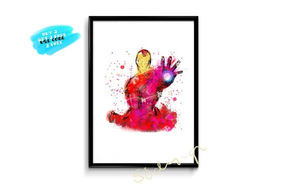 Iron Man Poster Watercolor Avengers Poster Iron Man Nursery