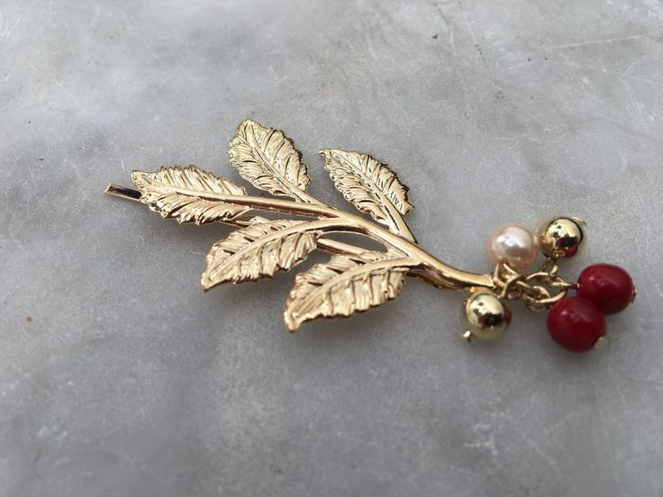 Oriental Golden Leaves with Red Beads