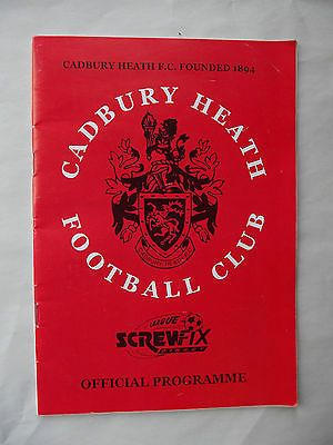 Football programme Cadbury Heath v Torrington Screwfix Direct League 19 4