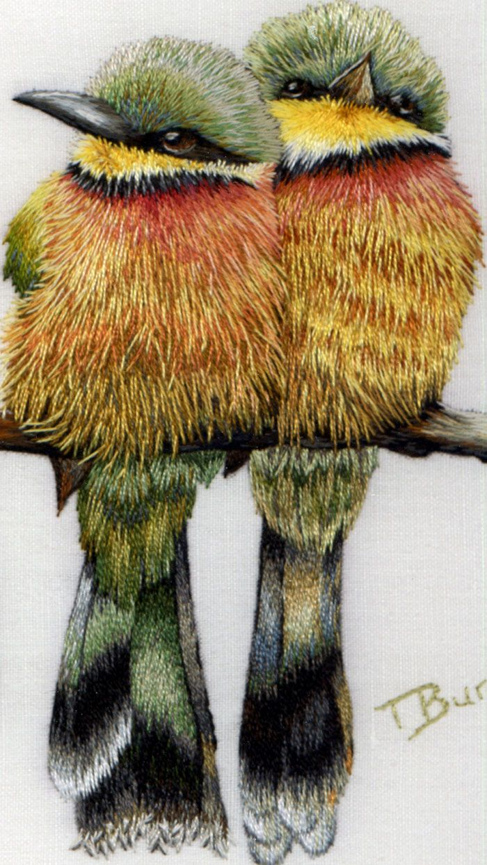 close-up detail Little Bee Eaters. embroidery by Trisha Burr. Hard to believe this is embroidery.