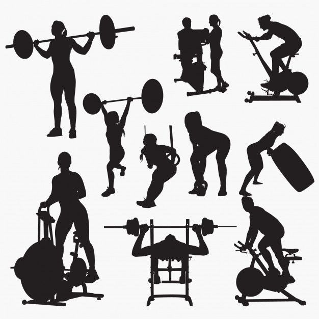 Fitness Gym Silhouettes In 2021 Silhouette Vector Clip Art Silhouette Architecture