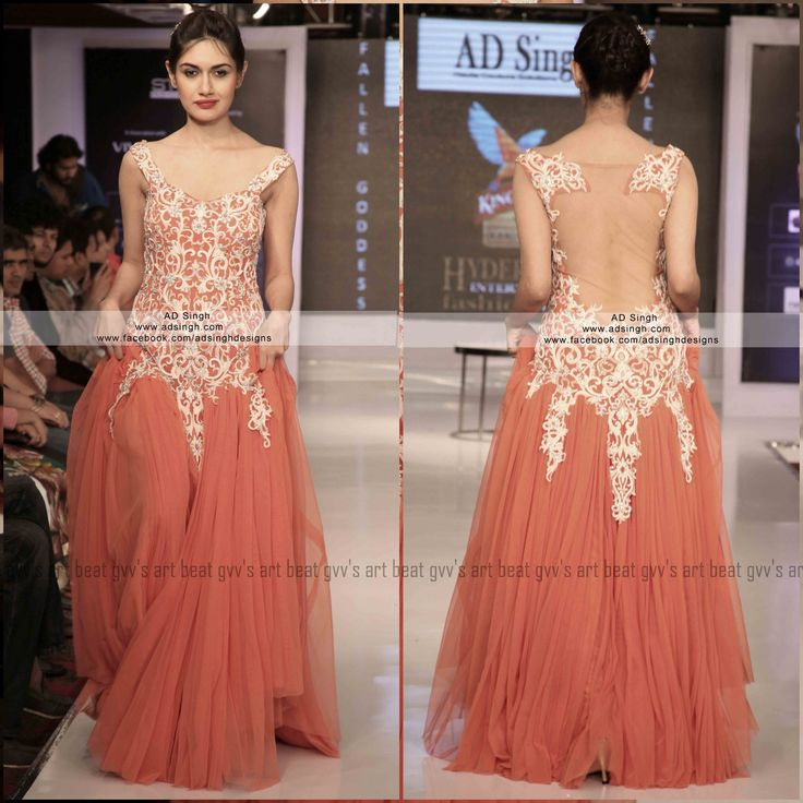 Soft tulle nett coral gown with intricate thread embroidery and a sheer back by AD SINGh Couture. for more info email: info@adsingh.com www.twitter.com/adsinghdesigns www.facebook.com/adsinghdesigns www.adsingh.com