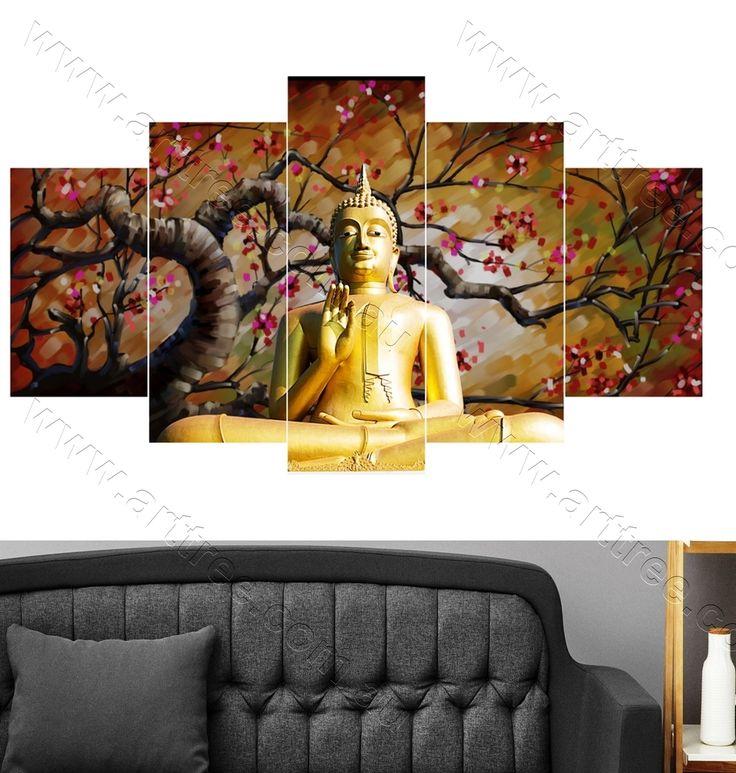 Golden Buddha Canvas Prints: A Great Housewarming Gift Idea #buddhadecor #buddha #canvasprint