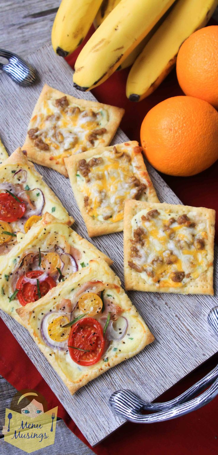 Puff Pastry Breakfast Pizzas - Make ahead of time, pop into the toaster oven before leaving for school or work!  Any combination you choose, like these prosciutto and veggie or sausage and cheese ones for the kiddos!  Step-by-step photos.  <3 <3