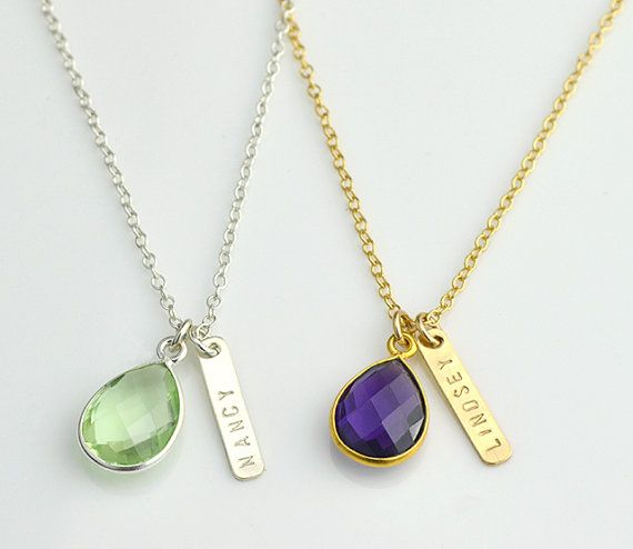 Mothers day gift, Personalized bar birthstone necklace, birthstone bridesmaid necklace nameplate bar custom name bar necklace, gift for mom #barnecklace