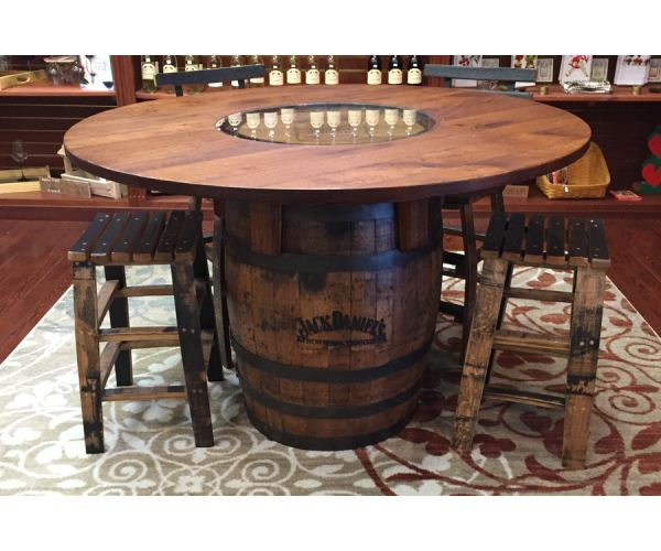 jack daniels whiskey barrel table and stools family room. Black Bedroom Furniture Sets. Home Design Ideas