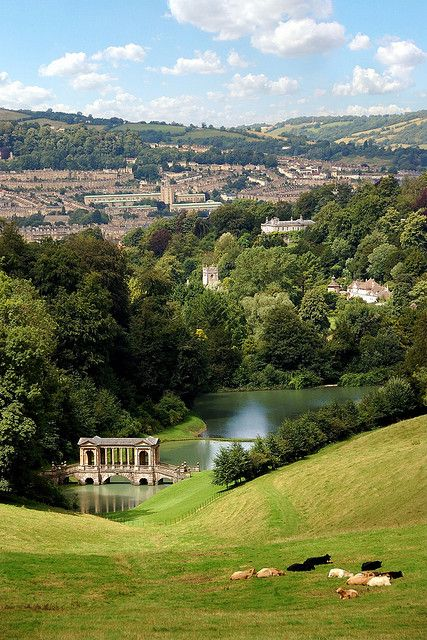 Prior Park Landscape Garden, near Bath in Somerset.  Created in the 18th century by local entrepreneur Ralph Allen, with advice from 'Capability' Brown and the poet Alexander Pope during the landscape movement.  City of Bath in the distance.