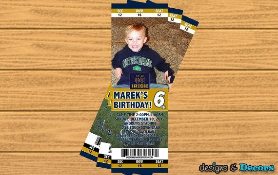 Notre Dame Football Ticket (Any Team) - Custom You Print Digital Ticket Invitation - Birthday Party. $20.00, via Etsy.