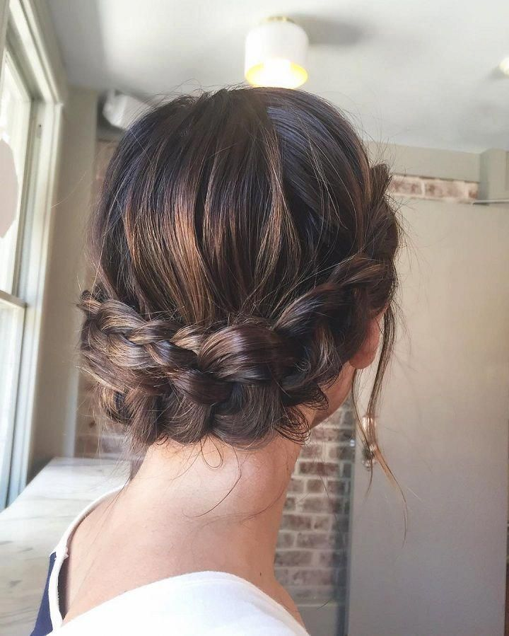 Beautiful Crown Braid Updo Wedding Hairstyle For Romantic Brides Bridal Hairstyle Get Inspired By This Low Updo B Hair Styles Hairstyle Braided Updo Wedding