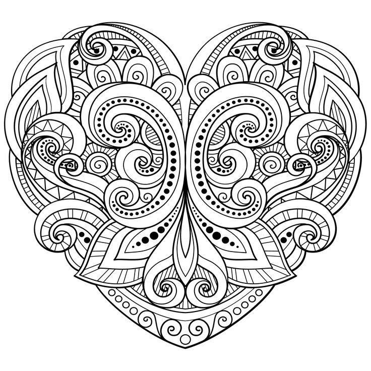 169 best Hearts + Love Coloring Pages for Adults images on ...