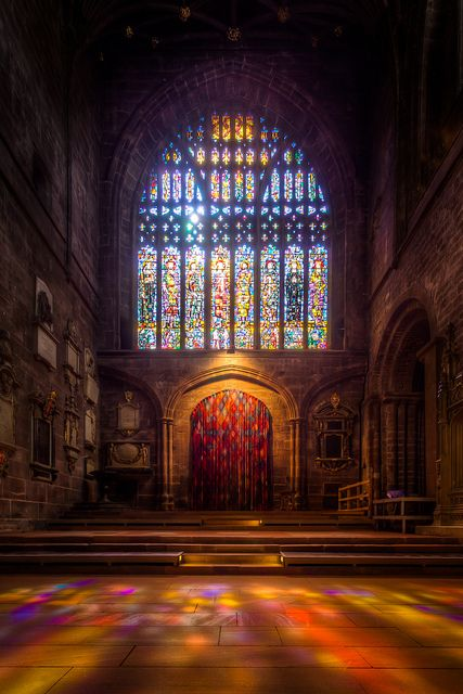 Stained Glass Window in Chester Cathedral (9x exposure HDR) by Mark Carline (Feel free to add me as a contact!), via Flickr