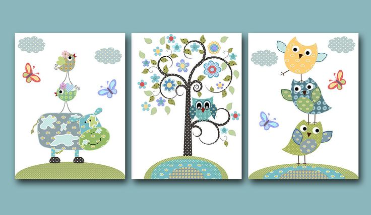 "Baby Nursery Decor Childrens Art, Kids Art Kids Wall Art Baby Boy Room Decor Baby Boy Nursery print set of 3 8""x10""Print owl decoration blue. $42.00, via Etsy."