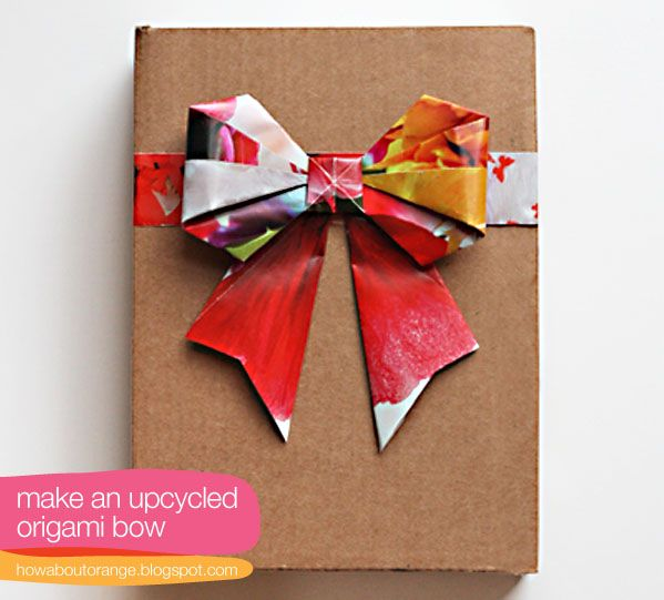 using old magazines - origami style diy-paper-gift-bow-tutorial