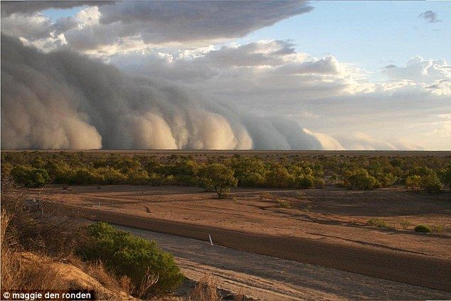 Dust storm engulfs Bedourie, south-western Queensland