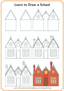 Learn to draw a Victorian school