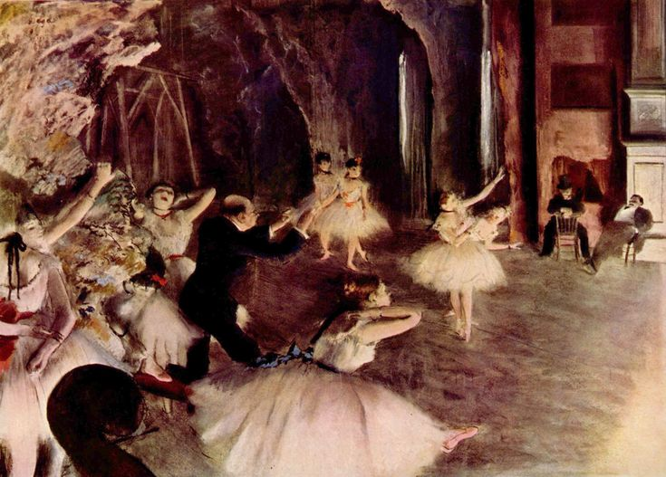 The Rehearsal of the Ballet on Stage - Edgar Degas