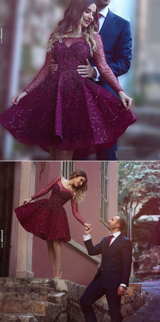 2017 Gorgeous A Line Prom Dress,Purple Color Cocktail Dress,Sequined Party Dress,Short Prom Dress with Long Sleeves