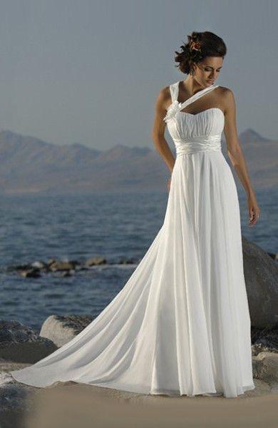 Chiffon Wedding Dress with Asymmetric Straps