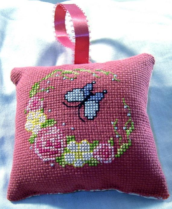 Butterfly Blue & Flowers Counted CrossStitch by MystieMeadowGifts, $5.00