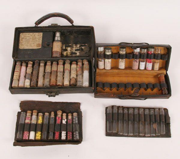 Antique Leather Medical Medicine Case Bag 2pc