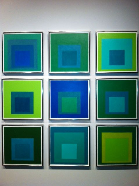 Who but Joseph Albers could create such fabulous greens. (Paintings photographed at the newly opened Yale University Art Gallery)