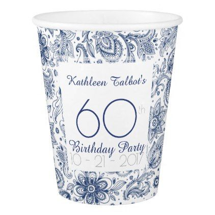 Blue Vintage 60th Birthday Party Paper Cup - birthday gifts party celebration custom gift ideas diy