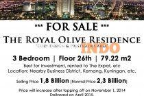 DI JUAL CEPAT UNIT APARTMENT THE ROYAL OLIVE RESIDENCE Cozy design  and Prestigious Area  3 Bedroom Lantai 26 Luas : 79.22 m2 Cocok untuk berinvestasi dan di sewakan ke target market expat or local people business area Kemang / kuningan / TB simatupang.  Lokasi :  Warung Buncit, Jakarta Selatan  Dekat Pejaten Village dan Kemang  DI JUAL HARGA BU 1,8 M (harga pasaran 2,3 M)  Harga akan naik pada saat topping off di tanggal 1 November 2014 Serah terima April 2015   Hubungi :  Yusup : ...