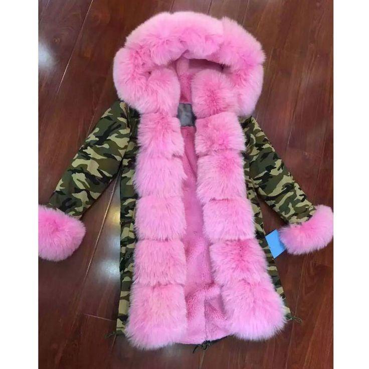 Kamuflaj ceketi Farklı astarlı sahte kürk astarlı pembe tilki kürk kaplaması Lüks kat