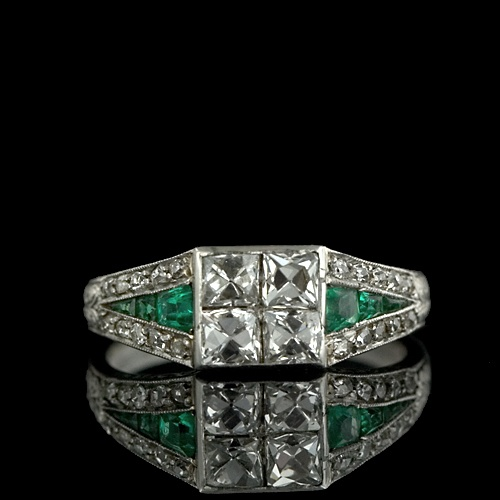 Art Deco French Cut Diamond and Calibre Emerald Ring, ca. 1920s