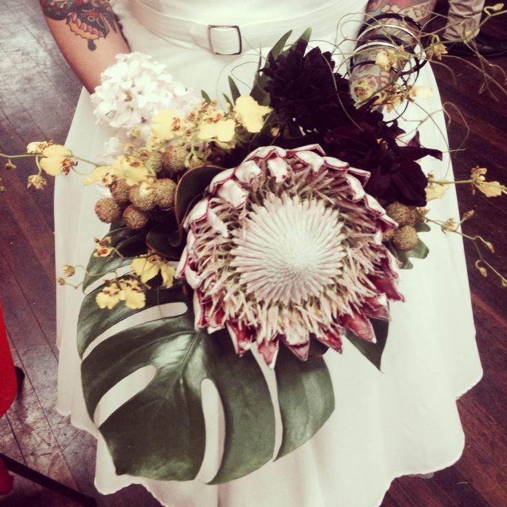 Tropical bridal bouquet by Bonnie's Bits & Blooms Email: bonniesbitsandblooms@hotmail.com