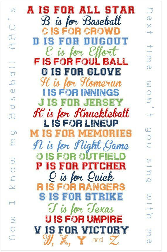 Baseball alphabet: totally teaching our kids the alphabet this way