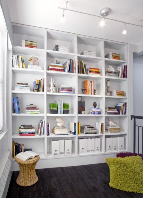 7 Modern Home Library Designs To Inspire | Shelterness - this comes pretty close to the color scheme I am thinking of - white/grass green/wood. And it looks like a loft space like ours.