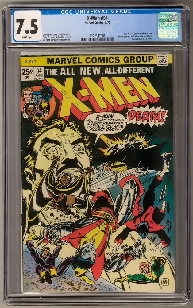 X Men 94 Cgc 7 5 W Key 2nd Storm Colossus New Stories Begin Comics Cgc X Men Comics Marvel