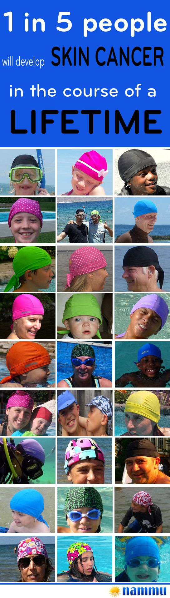 1 in 5 people will develop skin cancer in their lifetime - Nammu Swimming Hats #sunprotection #swimminghat #skincancer