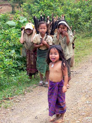 Mountain tribe children . Laos