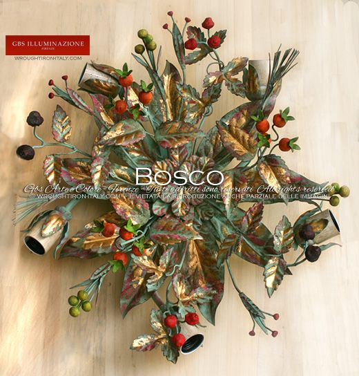 Bosco – Ceiling lamp with berries and wild fruits – tempera and gold | GBS Illuminazione. Made in Italy