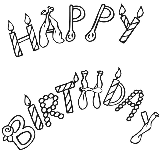 for youngsters who delight in birthdays this free printable coloring page activity of happy birthday written with candles and balloons is a terrific