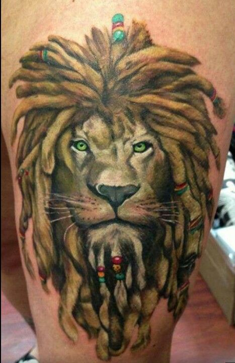 Great lion, leo tattoo. Love that the lion represents assertiveness and leadership, while the dreads represent a gentler peaceful aspect.