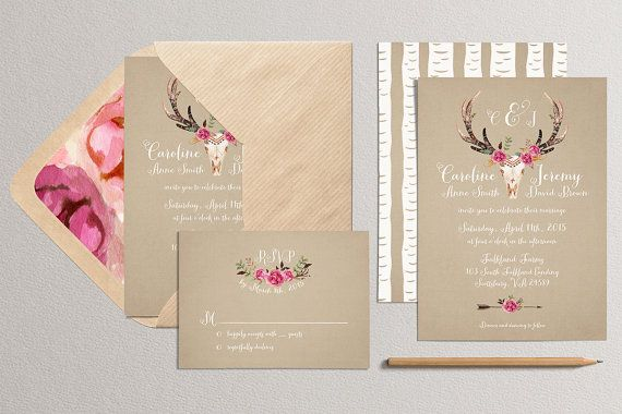 Printable Wedding Invitation and RSVP Card  Antler by plpapers
