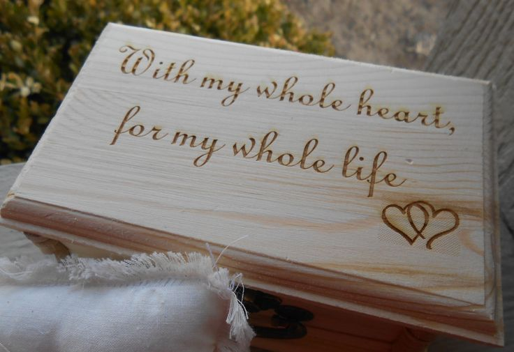 With My Whole Heart Ring Box & Pillow. CHOOSE YOUR PILLOW Style! Wedding Accessories. Ring Bearer, Bridal. Chest. by TreeTownPaper on Etsy