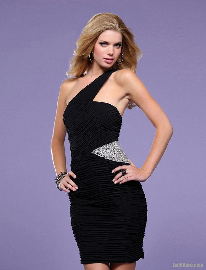 Black Tight Homecoming Dresses Short Ruffle One