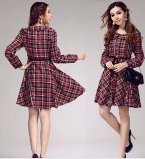Sweet-Japanese-Preppy-Style-Peter-Pan-Collar-Long-Sleeve-Brocade-Plaid-Dress-For-Women-Free-Shipping.jpg 284×312 pixels
