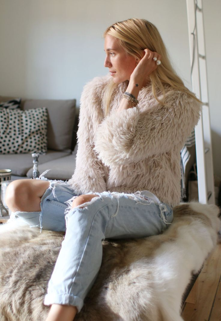 shaggy coat and boyfriend jeans