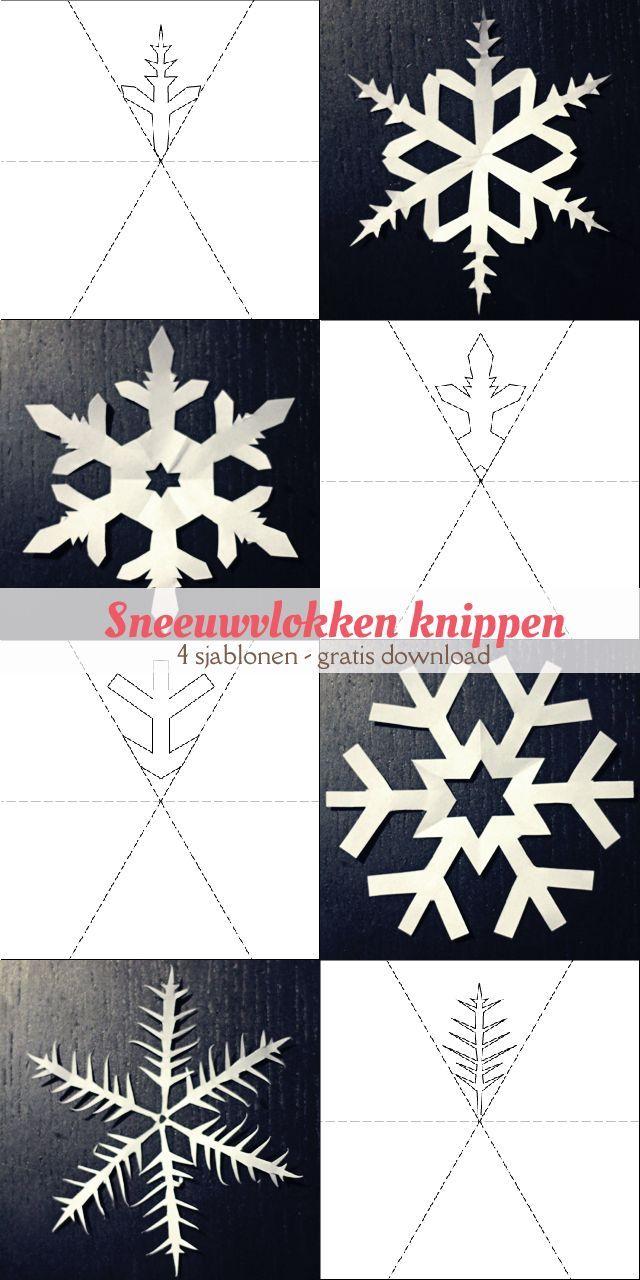 Vier gratis, printbare sjablonen van sneeuwvlokken om uit te knippen. | Free printable download for cutting snowflakes. #winter #craft #kids #free #download